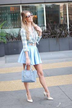 Very nice skirt! I like the way she wears the checked shirt.lolobu:  Mossimo Supply Co. Green Checkered Shirt http://ift.tt/1iIdae4