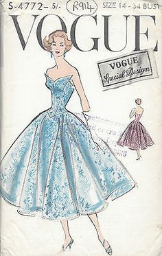 #1950s vintage vogue #sewing pattern b34 #dress (r914),  View more on the LINK: http://www.zeppy.io/product/gb/2/252213669777/
