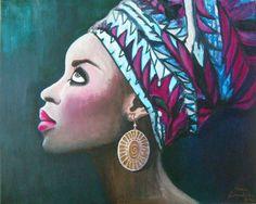 African Woman III.  - 40x40cm, akryl na płótnie.