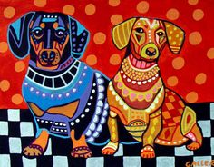 Dachshund Art Dog Doxie Dogs Poster Print Painting Poster Pop Art Weiner Dogs   eBay