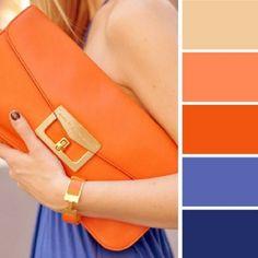 Colour Palette - Blues And Oranges Mais Colour Combinations Fashion, Color Combinations For Clothes, Fashion Colours, Colorful Fashion, Color Combos, Color Schemes, Color Azul Rey, Beste Jeans, Jean Délavé