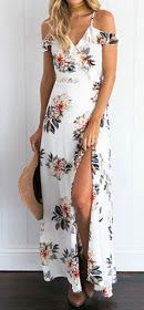 Women's Fashion V Neck Floral Print Maxi Dress. I like the pattern and the cut. I would want a breathable fabric. Maxi Dress With Slit, Floral Print Maxi Dress, Maxi Wrap Dress, Dress Up, High Low Floral Dress, Dress Lace, Boho Dress, Floral Lace, Prom Dress