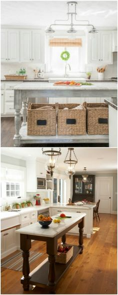 DIY - Country Kitchen Islands - Great Ideas - The Islands & Lighting In Both & So Much In The Details
