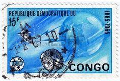 CONGO - CIRCA 1965: timbre imprim� au Congo montre Explorations de l'espace, vers 1965 photo