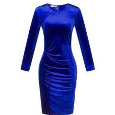 Visnxgi Soft Casual Gold velvet Dresses Long Sleeve