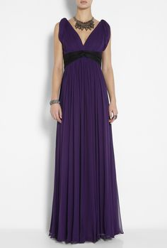 Wish I had somewhere to wear this Purple Chiffon V Neck Gown by Notte By Marchesa to.