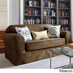 Bayside Two-piece Relaxed Fit Wrap Loveseat Slipcover - Overstock™ Shopping - Big Discounts on Loveseat Slipcovers