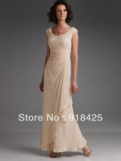 Fashion Ankle Length Maxi Champagne Lace Chiffon Mother of the Bride Dresses Cap Sleeves FN298 $139.58