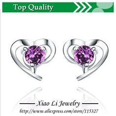 Free shipping Cordate amethyst Stud Earrings European and American vintage jewelry silver jewelry wholesale XLE11 $3.97
