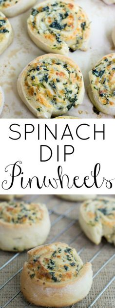 ► Spinach Dip Pinwheels Recipe: yeast, sugar, vegetable oil, flour, frozen chopped spinach, cream cheese, sour cream, mayonnaise, onion, Parmesan cheese, mozzarella cheese, salt and pepper.
