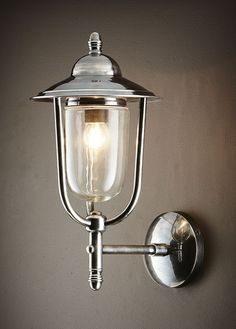 Pier Wall Lamp Antique Silver by Emac & Lawton Specifications: One lamp holder Colour: Antique Silver Material: Brass With Nickel Plated base lamp Max. Wattage: Globe not included Rated: Suitable for Outdoor Use Dimension: L x W x H Lamp Post Lights, Led Wall Lights, Outdoor Wall Lighting, Outdoor Walls, Indoor Outdoor, Or Antique, Antique Silver, Restaurant Kitchen Design, Globe