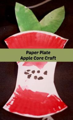 Use a paper plate to make an apple core- simple apple crafts for kids