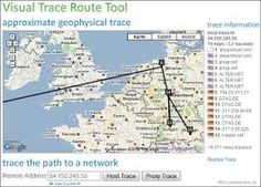 Monitis visual trace route tool.  Great for seeing how data travels across the internet