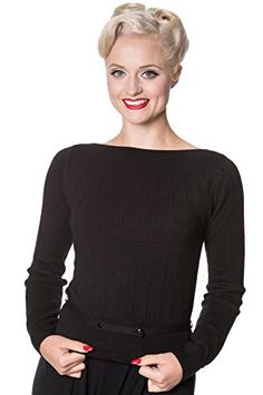 8144c8aaadc Banned Jane Vintage Retro Jumper Sweater Top - Black or Teal - Rockabilly Clothing  50s Plus