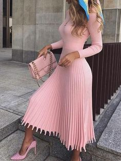 Mid-Calf Pleated Nine Points Sleeve Pullover Women's Maxi Dress - Outfit Fashion Classy Dress, Classy Outfits, Chic Outfits, Fall Outfits, Fashion Outfits, Dress Fashion, Dance Outfits, Ladies Fashion Dresses, Fashion Women