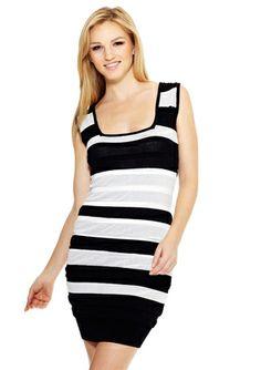 NICOLE MILLER Shirred Stripe Square Neck Dress