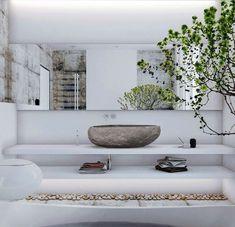 Badezimmer Zen Stil weiße freistehende Badewanne Bonsai | Interior ...