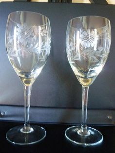 Wine Glasses or Water Goblets with Sunflower and Leaves 8
