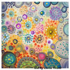 Original Flowers Painting Whimsical Boho Art DAISY SUMMER PASTEL Large Canvas 30x30 on Etsy, $325.00