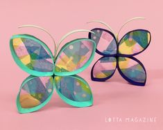 Permalink to stained glass butterflies. Glass Butterfly, Butterfly Shape, Butterfly Crafts, Butterfly Wings, Recycling For Kids, Recycled Crafts Kids, Daisy, Jr Art, Glue Crafts
