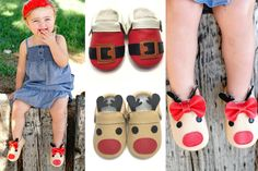 Adorable & completely gender nuetral moccs in time for Christmas! Choose from 4 different styles; reindeer, Santa, red with white bow, and red with green bow. There's something for everyone!