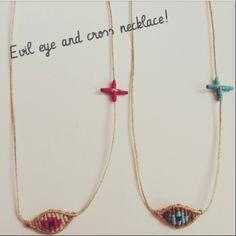 macrame evil eye and cross necklace