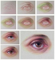 Drawing an eye in pastel pencils - By Cuong Nguyen Pastel Drawing, Pastel Art, Painting & Drawing, Digital Painting Tutorials, Art Tutorials, Pastel Portraits, Pastel Pencils, Color Pencil Art, Art Studies