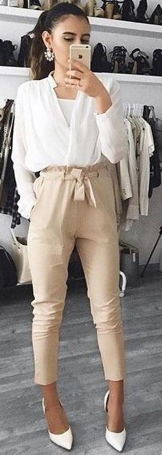 White Blouse + Nude Work Up Pants…