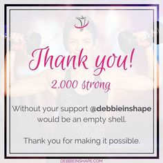 """@debbieinshape is a place where you can hear the latest from me what I have been doing eating and #planning. It's where I invite you to join the ordinary adventures of a #Productivity Expert passionate about #CrossFit healthy #lifestyle and helping others achieve their #goals. As from today we're 2000 #strong! Some of you I know better than others. We interact support each other and some I even know in person. Whether or not we had the chance to """"talk"""" I'd like to THANK YOU for being part of…"""