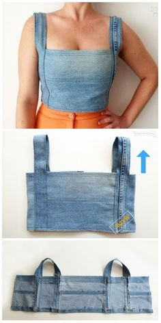 Stylish Ways to Alter Old Jeans into New Fashion-Turn Old Jeans into Sexy Top Ways to Alter Old Jeans into New Fashion for Your Wardrobe: DIY Ideas to Refashion Old Jeans into Demin Coats, Jackets, Skirts, Rompers Free Templates Refaçonner Jean, Jean Diy, Diy Old Jeans, Recycle Jeans, Diy Jeans To Shorts, Diy With Jeans, Fashion Sewing, Denim Fashion, Fashion Top