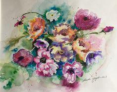 Watercolor flowers Monika Wyszynska