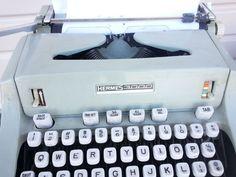 Hermes 3000 Typewriter 1968 Manual Portable Seafoam Green Deco Mid Century Prop  #hermes