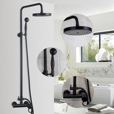 ORB Finish Luxury Wall Mounted Rain & Rainfall Shower Faucet Set with Hand Shower Single Handle Shower Faucets