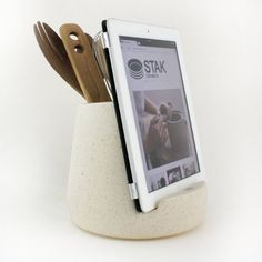 This iPad Kitchen Dock Holds Your Utensils Too — Faith's Daily Find 03.23.15