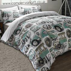 Campervan Gift - Volkswagen Classic Mint Campervan Duvet and Pillow Case Set, (http://www.campervangift.co.uk/volkswagen-classic-mint-campervan-duvet-and-pillow-case-set/)