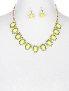 Yellow Pebble Stone Necklace Set   Helen's Jewels