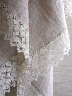 Cream Linen Towel with Deep Lace Edge ....