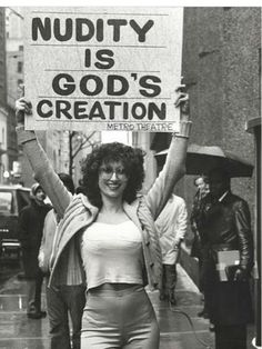 "justforbooks: "" That is Kellie Everts former Miss Nude Universe who came up with the idea a stripper could also be a religious minister. The combination of stripper and evangelical religious. 70s Aesthetic, Women Rights, Protest Signs, Hippie Man, Hippie Life, Power To The People, Mode Vintage, Leonardo Dicaprio, 70s Fashion"