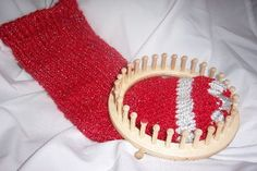 Loom Knit - Simple Christmas Stocking Pattern on 31 peg round loom.  From the LoomRoom.com