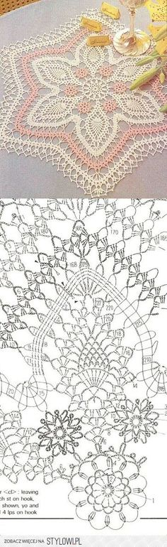 Crochet Lace Doily with Pattern Scheme                                                                                                                                                      Mais