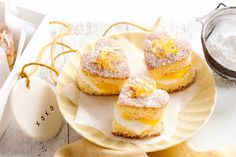 Little lemon sponge cake hearts - Spoil that special someone with the delicate heart-shaped sponge cakes. What's not to love?