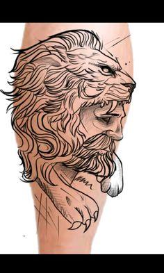 desenho tattoo hercules tatuagem perna pantutilha Leão soac