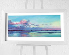 Flat Brushed Deep White Frame Single Mount with V Groove Overall Size 61 x Print Size 50 x Actual Image Size x Seascape Paintings, Landscape Paintings, Salt Marsh, Contemporary Landscape, Paper Roses, New Artists, Framed Art Prints, Coastal, Tapestry
