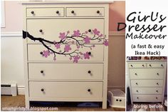Turn a boring old (or new) dresser into a showstopper with a cherry blossom vinyl decal. Fast and easy DIY. Great for a girl's bedroom dresser. Ikea Hack (Hemnes) with CozyWallArt Decal.