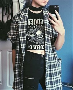 Choker necklace with plaid cardigan, graphic tee & ripped black by athousandchapters