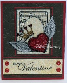 Prickley Pear Rubber Stamps:  Be My Valentine, Heart Crown, Winged Heart, Collaged Pinecone Tag