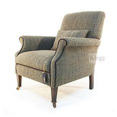 Tetrad Harris Tweed Bowmore in Loden Herringbone gt Harris Tweed, Fabric Sofa, Tub Chair, Sofas, Accent Chairs, Armchair, King, Flooring, Barns