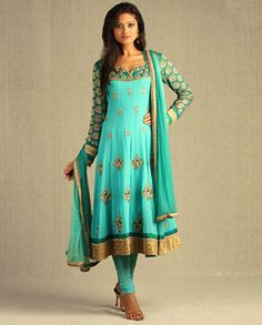Sea Green Kalidar Suit with Embellished Floral Motifs by Aneesh Agarwaal - Exclusively In