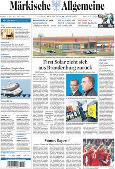 Mittwoch, 18.04.2012 - US-Solarfirma 'First Solar' macht dicht » http://www.maerkischeallgemeine.de/cms/beitrag/12312300/485072/