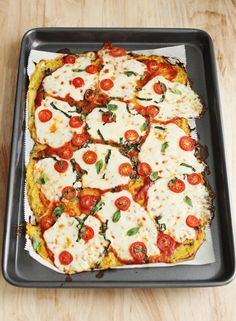 all veggie pizza : the crust is made with spaghetti squash!